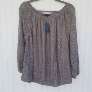 Lane Bryant Size 18/20 Grey Lace top. New with tag